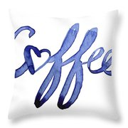 Coffee Love Typography Throw Pillow