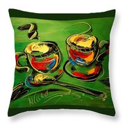 Coffee On Green Throw Pillow