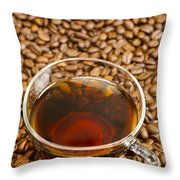 Coffee On Roasted Beans Throw Pillow