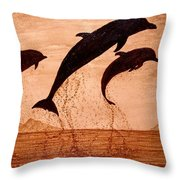 Coffee Painting Dolphins Playing Throw Pillow