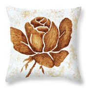 Coffee Painting Rose Blooming Throw Pillow