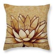 Coffee Painting Water Lilly Blooming Throw Pillow by Georgeta  Blanaru
