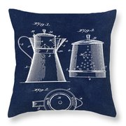 Coffee Pot Patent 1916 Blue Throw Pillow