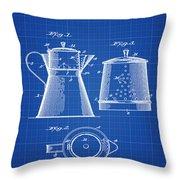 Coffee Pot Patent 1916 Blue Print Throw Pillow