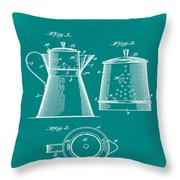 Coffee Pot Patent 1916 Green Throw Pillow