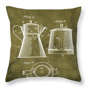 Coffee Pot Patent 1916 Grunge Throw Pillow