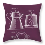 Coffee Pot Patent 1916 Red Throw Pillow