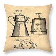 Coffee Pot Patent 1916 Sepia Throw Pillow