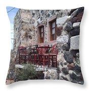 Coffee Shop In Santorini Throw Pillow