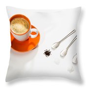 Coffee Sugar Cream Throw Pillow