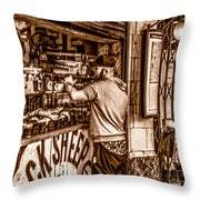 Coffee Time At The Station. Throw Pillow