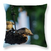 Coffee With The Birds Throw Pillow