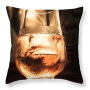 Cognac Glass On Bar Counter Throw Pillow