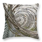 Coiled Razor Wire On Fence Throw Pillow