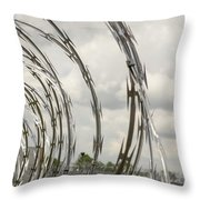Coils Of Razor Wire On Fence Throw Pillow