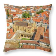 Coimbra Cathedral Aerial Throw Pillow