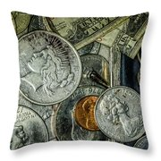 Coins And Bills Throw Pillow