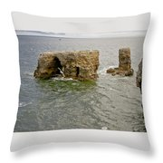 Cold Day At The Seaside. Throw Pillow