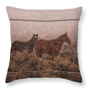 Cold And Blowing Snow Throw Pillow