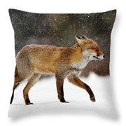 Cold As Ice - Red Fox In A Snow Blizzard Throw Pillow