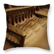 Cold Bench In The Snow Throw Pillow