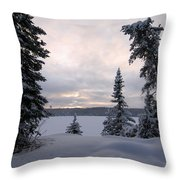 Cold Dawn On Boot Lake Throw Pillow