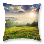 Cold Fog In Mountains On Forest At Sunset Throw Pillow