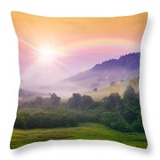Cold Fog On Hot Sunrise In Mountains Throw Pillow