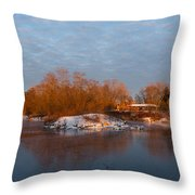 Cold Ice Warm Light - Early Winter Morning On The Lake Shore Throw Pillow
