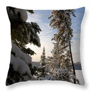 Cold Morning On Boot Lake Throw Pillow
