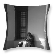 Cold Native American Woman Throw Pillow