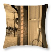 Cold Point Village Station - Banjo Mandolin In Sepia Throw Pillow