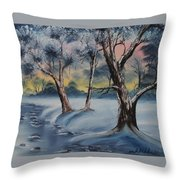 Cold Winter Throw Pillow