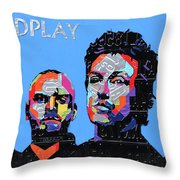 Coldplay Band Portrait Recycled License Plates Art On Blue Wood Throw Pillow