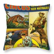 Cole Bros Circus With Clyde Beatty And Ken Maynard Vintage Cover Magazine And Daily Review Throw Pillow