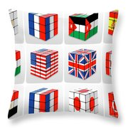 Collage Of Flags Of Different Nation  Throw Pillow