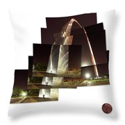 Collage Of Gateway Arch At Night Throw Pillow