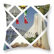 Collage Of Iran Images  Throw Pillow