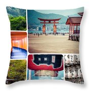 Collage Of Japan Images Throw Pillow