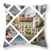 Collage Of Riga Throw Pillow