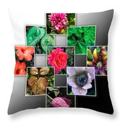 Collage Of Spring Flowers Throw Pillow