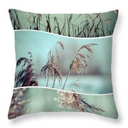 Collage Of Winter Grass Throw Pillow