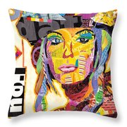Collage Portrait Throw Pillow by Oprisor Dan