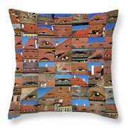 Collage Roof And Windows - The City S Eyes Throw Pillow