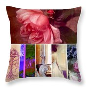 Collage So Rosey Throw Pillow