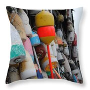 Collection Of  Buoys In Bar Harbor Maine Throw Pillow