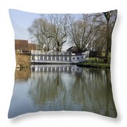 College Barge At Sandford Uk Throw Pillow