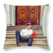College Student Reading Red Book, Sitting On Stairs, Relaxing Ou Throw Pillow