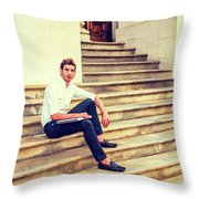 College Student Sitting On Stairs, Relaxing Outside Throw Pillow