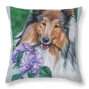 Collie With Lilacs Throw Pillow by Lee Ann Shepard